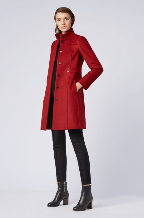 Virgin-wool-blend coat with hardware-trimmed belt detail HUGO BOSS