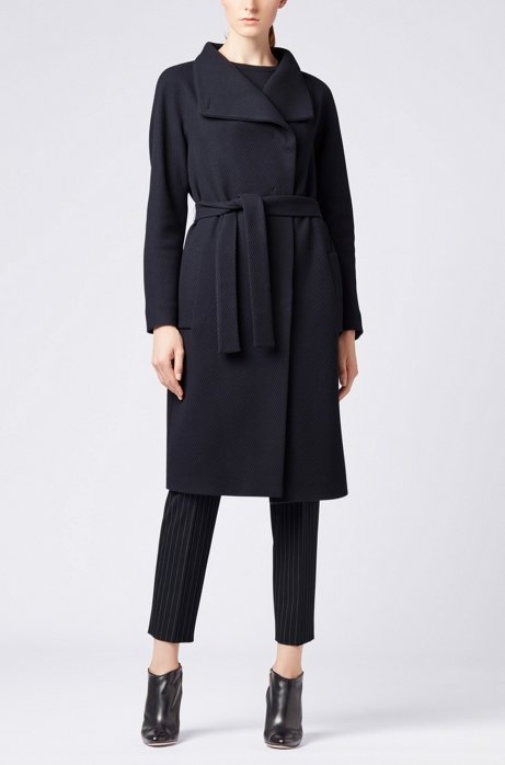 Wrap coat in a virgin-wool blend with cashmere HUGO BOSS